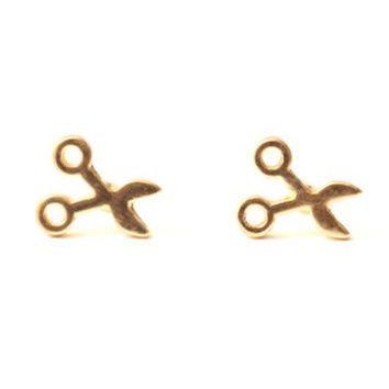 Tiny Scissors Stud Earrings Gold Tone Shears Posts Punk EE36 Statement Fashion Jewelry