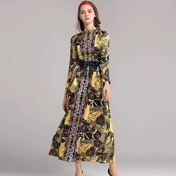 High End Lady Of Pattern Long Sleeve Self Cultivation Will Pendulum Dress Longuette