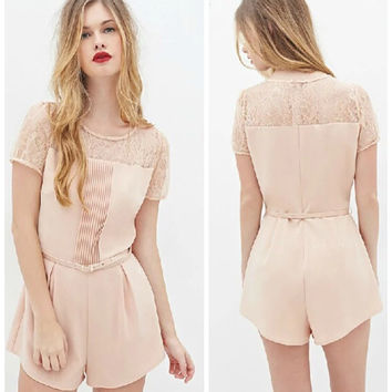 Summer Women's Fashion Lace Romper [4915021764]