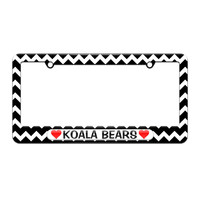 Koala Bears Love with Hearts - License Plate Tag Frame - Black Chevrons Design