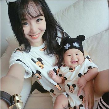 PEAPUNT 1PC 2016 New Summer Mother Dresses Baby clothes Family Matching Outfits dress and baby jumpsuit mother daughter clothes LL222