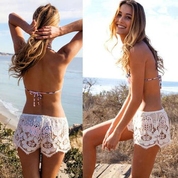 Sexy lace black beach shorts hollow pants