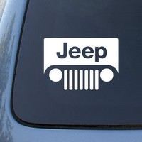 """JEEP LOGO(grill style) - 6"""" WHITE DECAL - Car, Truck, Notebook, Vinyl Decal Sticker"""