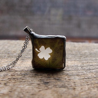 four leaf clover for luck, Bohemian necklace, Statement, Clear glass pendant, woodland botanical retro wedding rustic memories