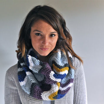 Chevron Crochet Infinity Scarf - Purple, Blue, Mustard, Gray & White