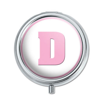 Letter D Initial Baby Girl Block Font Pink Shower Pill Box