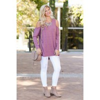 Not So Cold Shoulder Purple Top