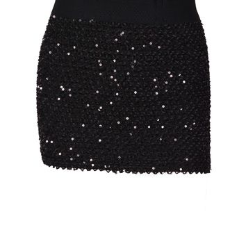 Elastic Waist Sparkling Sequin Bodycon Sexy Mini Skirt