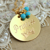 Princess Necklace gift for woman,Something blue Gold turquoise - 14k Gold Filled Necklace with turquoise beads.