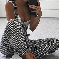 Women Black White Plaid Jumpsuit Ladies Casual Sleeveless Dungarees Long Pants Summer High Waist Jumpsuits Overalls #BF
