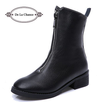 De La Chance Zipper Pointed Toe Women Ankle Boots Black Leather Boots For Women Square Low Motorcycle Boots Winter Shoes Woman