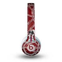 The Grungy Red & White Stitched Pattern Skin for the Beats by Dre Mixr Headphones