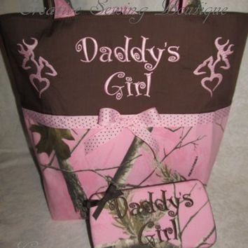 Custom made pink realtree camo camouflage pink realtree diaper bag set