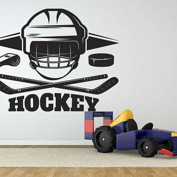 Ice Hockey Wall Decal, Ice Hockey Helmet and Stick Wall Sticker, Hockey Wall Vinyl Decor, Kids Bedroom Hockey Logo Wall Decoration se074