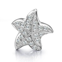 Caperci Charms Sterling Silver 925 Cubic Zirconia Crystal Starfish Charm Bead Fits Pandora Bracelets