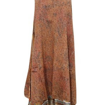 Women's Wraps Long Brown Two Layer Reversible Vintage Floral Silk Sari Skirts