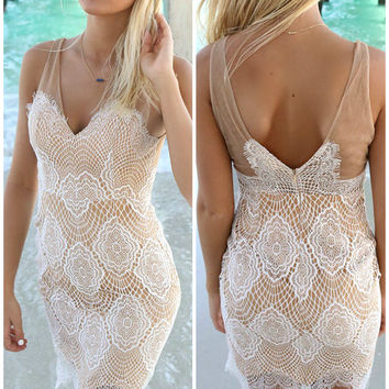 Chantal Tan And White Lace Fitted Cocktail Dress