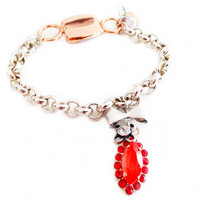 Chain and link bracelet with orange crystals