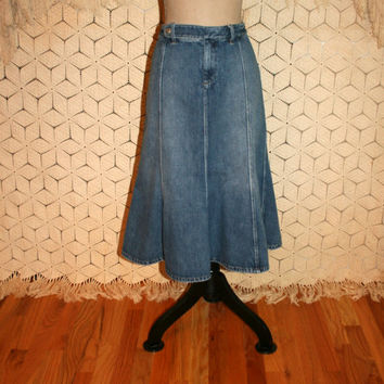 Cowgirl Skirt Flared Denim Skirt Western Boho Skirt Denim Twirl Skirt Denim Midi Skirt S/M Ralph Lauren Size 6 Skirt Small Womens Clothing