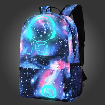 Light up Galaxy Printed Canvas Backpack