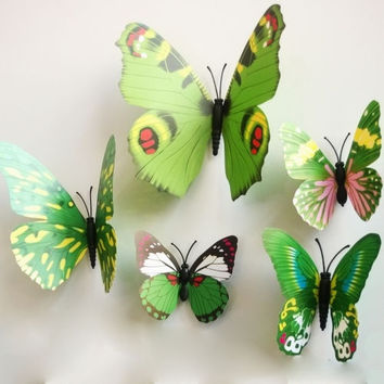 Fashion 12pcs Green 3D Butterfly Sticker Art Design Decal Wall Stickers Room Decorations  Home Decor