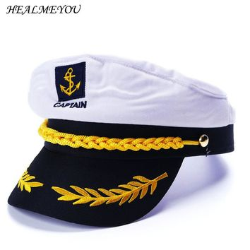 Military Nautical Hat White Yacht Captain Hat Navy Cap Marine Skipper Sailor Cap Costume For Adults Party Fancy Dress Clothes