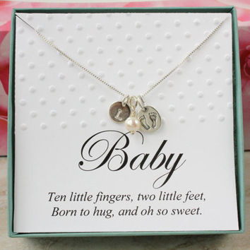 New baby gift for new mom necklace sterling silver personalized initial pearl necklace with baby feet charm in a box, baby shower gift