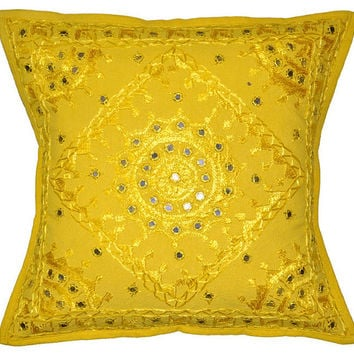 Yellow Decorative Mirror Work Pillow for couch, Throw Pillow, Accent PIllow, Ethnic Indian Floor Pillow, Toss Pillow, Couch Sofa Pillow