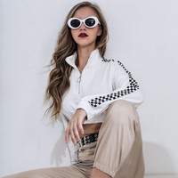 Patchwork Crop Top Zippers Tops Hoodies [1449744728161]