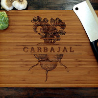 Personalized Cutting Board (Pictured in Amber), approx. 12 x 16 inches, Vintage Engraving Last Name - Wedding Gift or Anniversary Gift