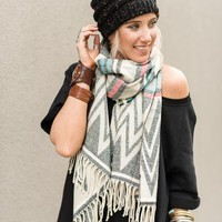 Chevron Tribal Knitted Tassel Scarf
