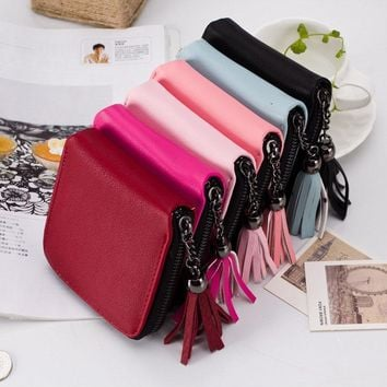 Women Wallets Leather Purse Tassel Zipper Wallet PU Credit Card Holder Girls Coin Purses Clutch