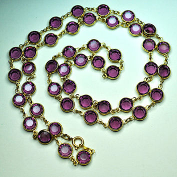 "AUSTRIAN CRYSTAL BEZEL Vintage Gold and Purple Crystal Bezel Long 29"" Necklace, 8mm Crystals, Pretty in Purple! #a792"