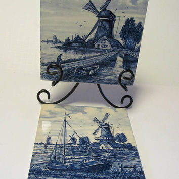 "Pr Vintage Blue Tiles Delft Tiles  Cobalt Holland Blue And White 6X6 Tiles Ceramic Tile 6x6""  Blue and White Tiles Holland Windmill scenes"