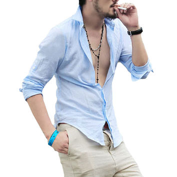 2017 Spring Summer Hot Thin Lightweight Hawaiian Shirt Men Cool Solid Cotton Linen Long Sleeve Casual Men Shirts (Asian Size)
