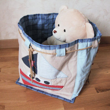 Fantasy toys fabric basket for boy Toys Storage bag Ecological cotton Deco room boy child Boats nautical theme Christmas child  boy gift