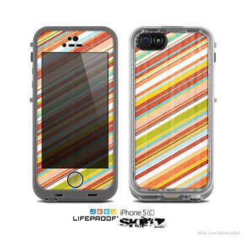 The Vintage Slanted Color Stripes Skin for the Apple iPhone 5c LifeProof Case