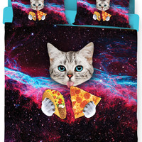 Taco Cat Bed Duvet Cover and Pillowcase Combo