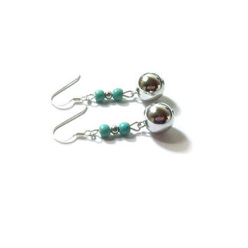 Turquoise Earrings  , Turquoise Dangles ,  Sterling Silver Turquoise Earrings