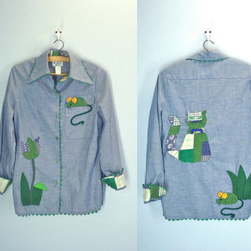Vintage Applique Denim Shirt / Cat and Mouse / 80s Denim Blouse