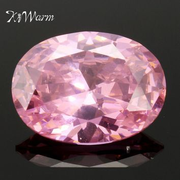 KiWarm 31.10CT Pink Sapphire Zirconia Oval Cut Gems Faceted 15X25mm Loose Gemstones for DIY Jewelry Rings Necklaces ornaments