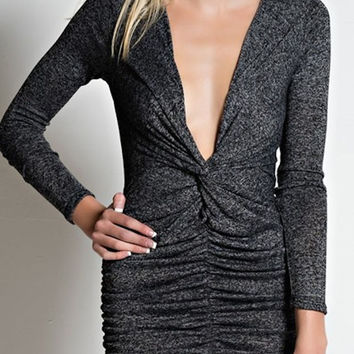 Love Me Two Times Knit Dress - Charcoal- FINAL SALE