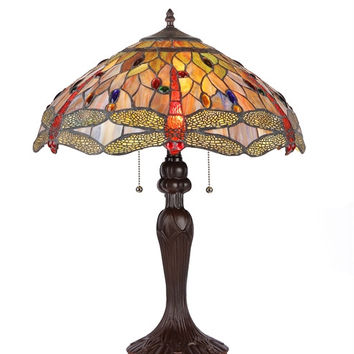 Beautiful Tiffany- Style Dragonfly Table Lamp by Chloe Lighting