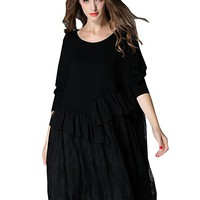 Women's Black Cotton Lace Dress Long Sleeve Casual Loose Fitting Plus Size Autumn Spring