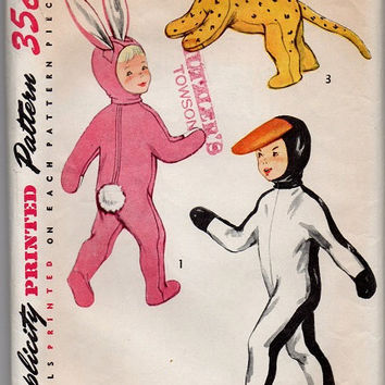1950s Halloween Costume Simplicity Sewing Pattern Child's Playsuit Penguin Bunny Rabbit Cat Lion Cub Duck Boy Girl Size M Hood Mittens