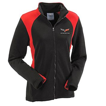 Corvette C6 Woman's Bonded Jacket Black and Red