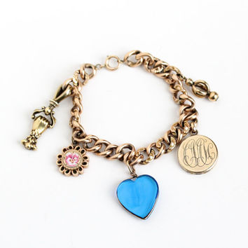 """Sale - Antique 10k Rose Gold Filled Victorian Charm Bracelet- Late 1800s Edwardian Linked Chain Jewelry with Locket, """"J"""" Heart, Hand Pendant"""