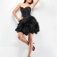 Sexy sweetheart straps black red short prom dresses PDM4061