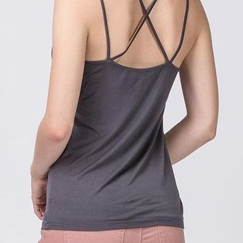 Ashley Strappy Back Tank in Charcoal