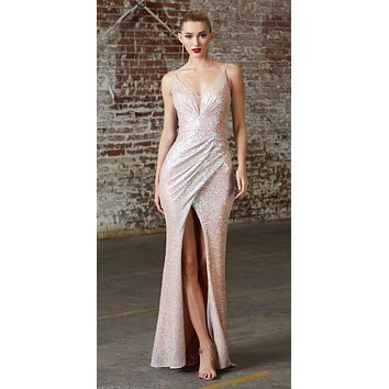 Long Slim Fit Sequin Gown Opal Blush Gathered Waist Pleated V-Neckline